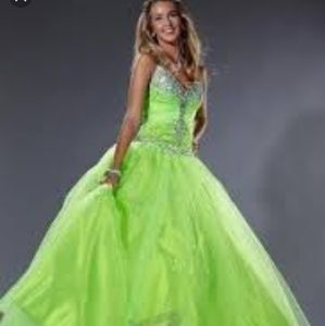 Tiffany Lime Green Prom Dress Size 4